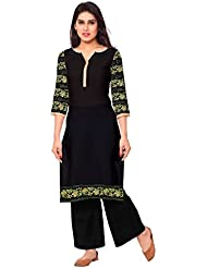 AHALYAA Black Colored 3/4th Sleeve And Keyhole Neck Faux Crepe Kurti