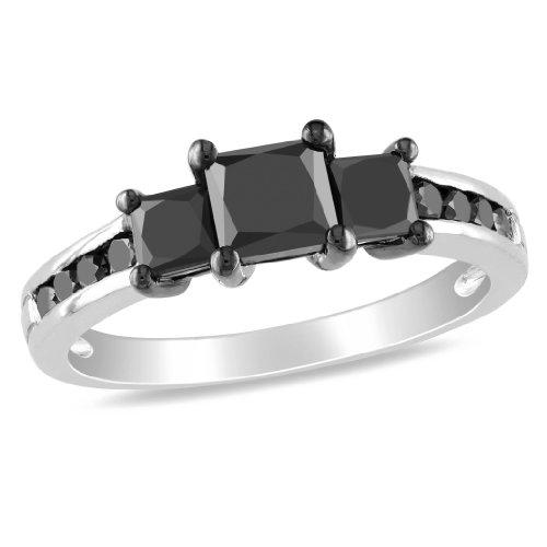 10K White Gold, Black Diamond Ring, (1.5 cttw)