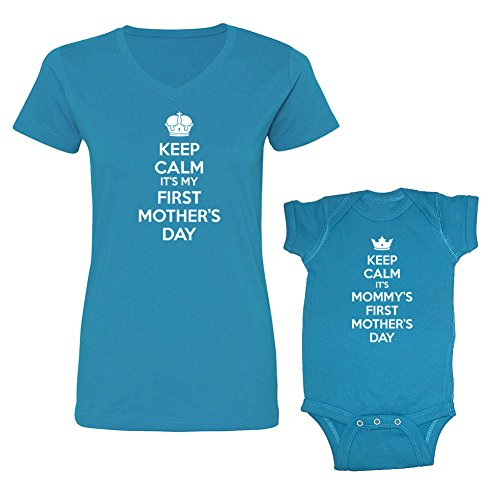 We Match! Keep Calm Mommy's First Mother's Day Ladies V-Neck T-Shirt & Bodysuit