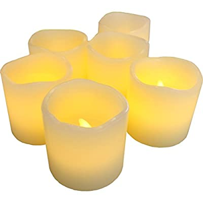 "LED Lytes Flameless Candles, Battery Operated Votive Set of 6 - 2""x 2"", Ivory Colored Wax and Amber Yellow Flame for Weddings and Parties"