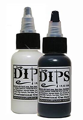 Face Painting Makeup - ProAiir Waterproof Brush On DIPS - 2 1 oz (30ml) Bottles, 1 each Black and White