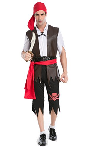 NonEcho Men's Halloween Costumes Movie Costume Pirate Sailor