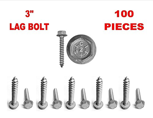 100 Pack 3″ Inch 5/16 Hex Flange Washer Head Lag Bolt Screw DISH APROVED