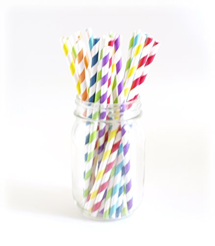 Striped Paper Straws, Bulk Drinking Straws, Wide Straws, Decorative Straws, 25 Pack - Rainbow Color Stripes