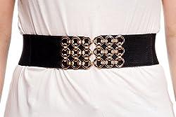 Sunny Belt Women's Golden Circle Buckle Waist Belt Large