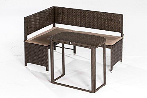 Eckbankset GRAZ 2-teilig, 1x Bank 148x100cm und 1x Tisch , Stahl + Polyrattan mocca, mit Auflage creme günstig bestellen