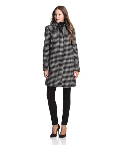Jones New York Women's Houndstooth Trapeze Coat  [Houndstooth]