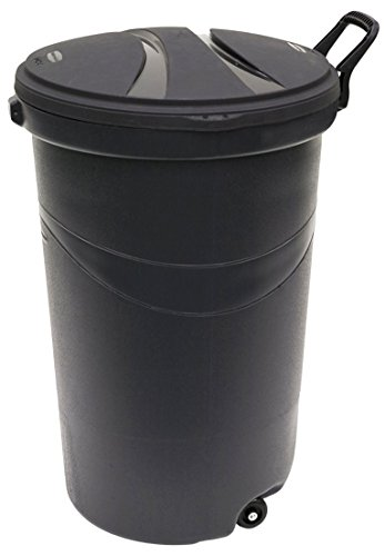 Rubbermaid RM5H9601 Wheeled Trash/Garbage Can with Handle, 32-Gallon, Black, 2-Pack (Rubbermaid Wheeled Garbage Can compare prices)