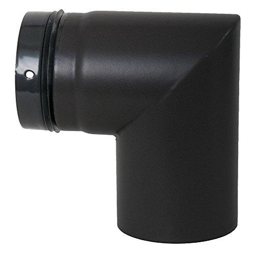 Ofenrohr-Bogen-fr-Pelletofen-geschweit-90--80-mm-Steckrichtung-zum-Schornstein-mattschwarz-emailliert