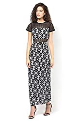 Black Printed Lace Maxi Dress