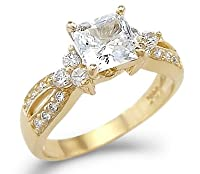 Solid 14k Yellow Gold Princess Cut CZ Cubic Zirconia Engagement Wedding Ring 1.5 ct from Sonia Jewels