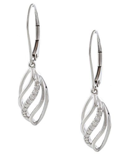 Sterling Silver 1/5ct Pave Diamond Drop Earrings (G-H, I1-I2)