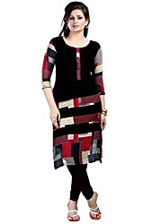 Clickedia Women's Cotton Rich A line long black Kurta- Semi-Stitched