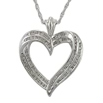 Sterling Silver 1/2 cttw Diamond Heart Pendant, 18
