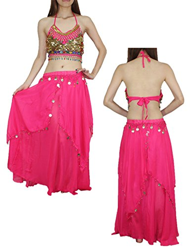 2 PCS SET: Womens Belly Dance Padded Wireless Cropped Top & Skirt Set