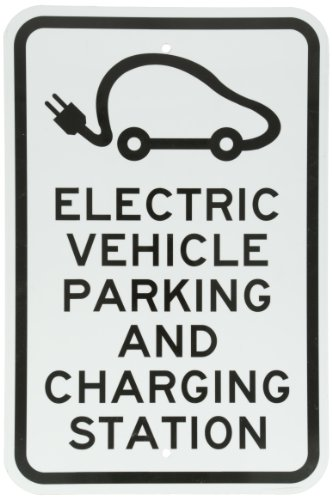 "Smartsign Aluminum Sign, Legend ""Electric Vehicle Parking And Charging Station"" With Graphic, 18"" High X 12"" Wide, Black On White"