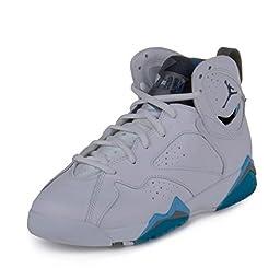 Nike Jordan Kids Air Jordan 7 Retro BG Wht/Frnch Bl/Unvrsty Bl/Flnt G Basketball Shoe 6 Kids US