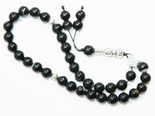 A2-0187 - Black Agate Gemstone Prayer Worry Beads - 33 Beads - Handmade by Jeannieparnell