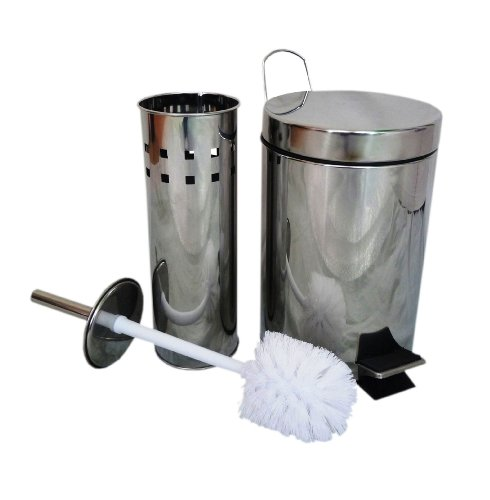 Stainless Steel Toilet Brush Holder & Waste Paper Pedal Bin Bathroom Set