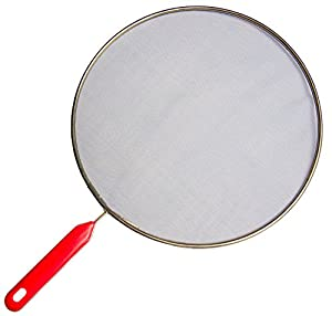 Metal Mesh Splatter Screen - 11 Inch - Red Plastic Handle Design, Grease Splashing Preventative, Convenient Lid to Cover Pots, Pans, Skillets and Even Used As Food Strainer, Vital for Deep and Stir Frying, Simmer, and Other Open Pan Cooking
