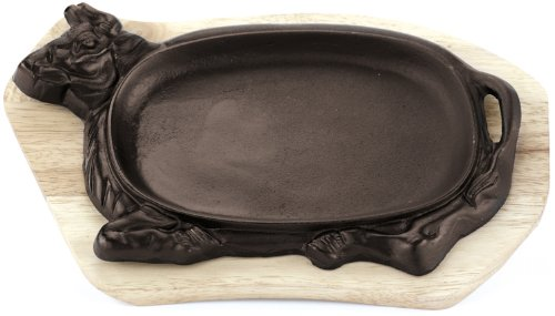 Paderno World Cuisine Cast-Iron Sizzling Platter with Wooden Tray, Animal Shaped (Oval Cast Iron Serving Griddle compare prices)