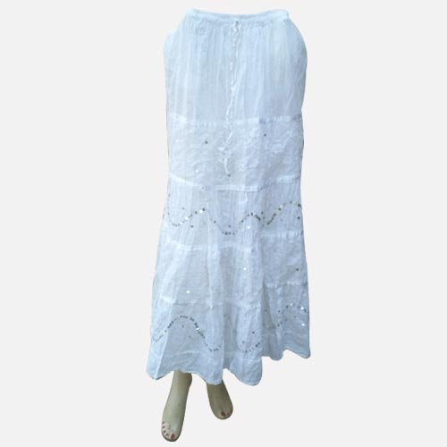 Handmade Embroidered Cotton Skirts With Adustable Doori, Inside Lining, Netted, Sequins And Strips (Free Shipping) Skrt0002