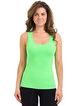Sugar Lips Seamless Rib Tank Top 409 (Neon Green, One size)