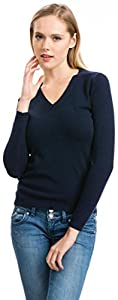 Women's Navy V-Neck Sweater - 100% Cashmere - Citizen Cashmere, XS