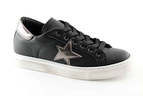 DIVINE FOLLIE 601 nero canna fucile scarpe donna sportive sneakers lacci 38