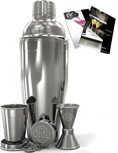 Cocktail Shaker Bar Set with Double Jigger, Travel Cup and Recipe eBook - Martini Maker - 24oz Stainless Steel Shaker - Best Value for Money (Automated Drink Mixer compare prices)