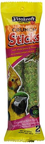 vitakraft-cockatiel-parrot-whole-grains-honey-kiwi-flavored-glaze-treat-sticks-2-pack-64-ounce
