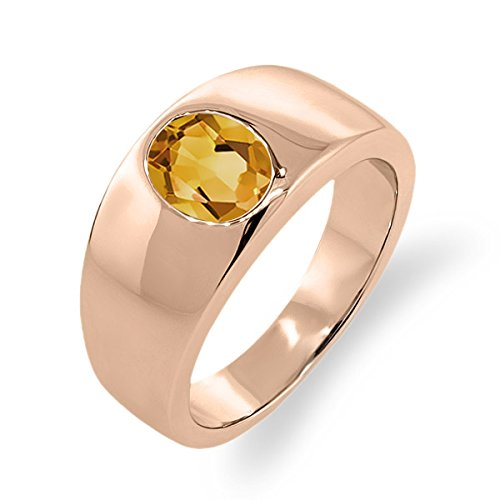 1.15 Ct Oval Yellow Vs Citrine 18K Rose Gold Men'S Solitaire Ring