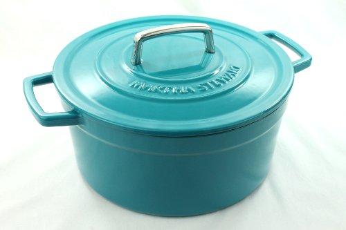 Teal Blue Enameled Cast Iron 6 Qt. Round Dutch Oven Casserole