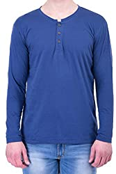 Navy Blue Round Neck v Shape Cotton Full Sleeves T-Shirt for Men by Upbeat Colors Couture