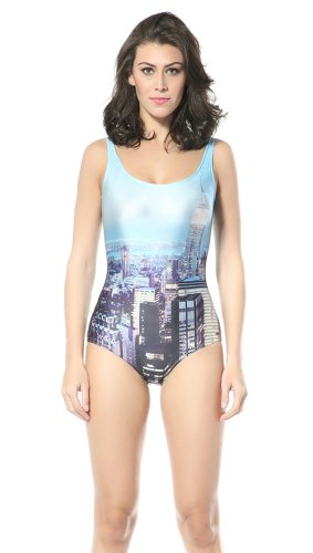 Ndb City View Print One Piece Swimsuit Swimwear Beach Cloth