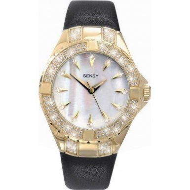Seksy 4433 Ladies Gold PVD White Dial and Black