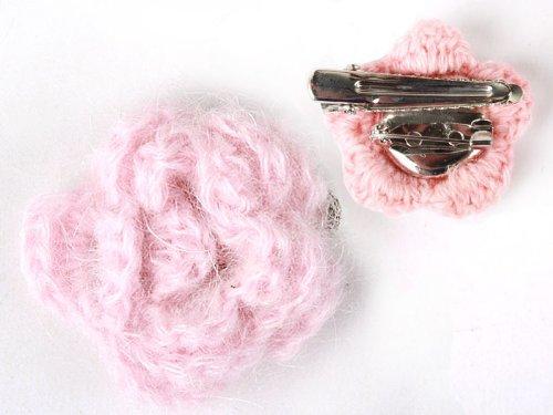 ヘアピン レース モヘア花柄 髪飾り 結婚式 パーティー#薄いピンク