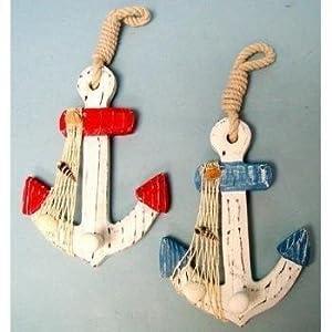 Amazon.com - Set of 2 Wood Anchor Wall Hooks - Nautical Decor