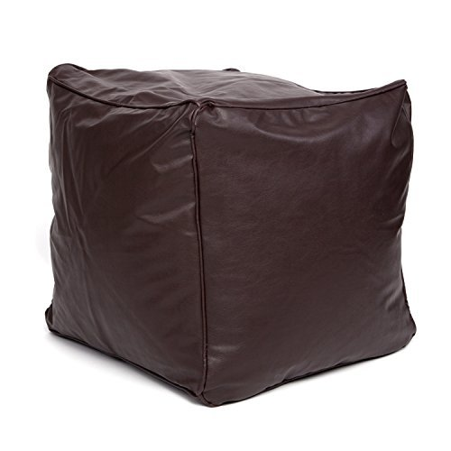 faux-leather-light-chocolate-brown-cube-foot-stool-pouffe-bean-bag-with-filling