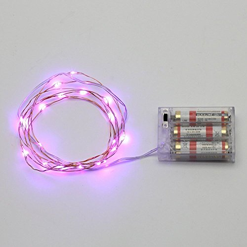 7ft/2M 20 LED AA Battery Operated Powered Copper Wire LED Fairy Strings Lights-Purple(Batteries are NOT included)