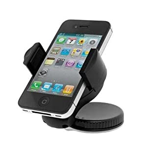 Etekcity® Universal Car Windshield Mount Window Cradle Stand Holder for mobile cell phone iPhone 5 4S 4 3GS Samsung Galaxy S3 S2 Epic Touch 4G HTC OneX EVO 4G Rhyme DROID RAZR BIONIC INCREDIBLE 2 CHARGE Google Nexus BlackBerry Torch LG Revolution GPS Compact Size 360 degree Rotatable