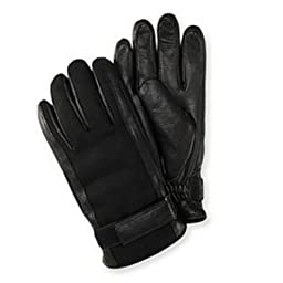 Isotoner Mens Belted Black Leather & Wool Gloves Thinsulate Lined