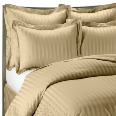 Beige Queen Striped Luxury 8-Peices Bed-In-A-Bag Set 600 Thread Count -100 Percent Egyptian Cotton front-228152
