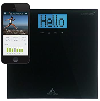 Weight Gurus Digital Bathroom Scale with Large Backlit LCD and Smartphone Tracking (Black)