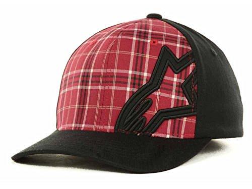 Alpinestars Astar Motley Black Red Flexfit Plaid Baseball Cap Hat Size S/M