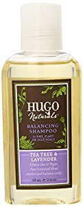 Hugo Naturals Travel Size Balancing Shampoo, Tea Tree and Lavender, 2-Ounce (Pack of 3)
