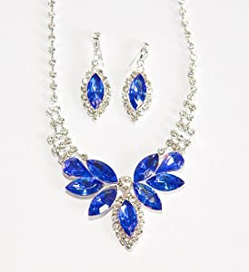 Brilliant Blue Butterfly Crystal & Crystal Rhinestone Necklace/Earring Set - Blue Bridesmaid Jewelry