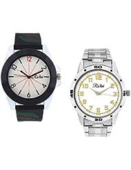 Ra'len Analog White And White Dial Men's Watch - GR-W-0020 (Pack Of 2)