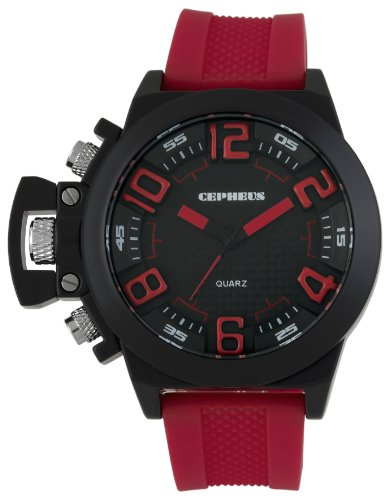 Cepheus Men's Quartz Watch with Black Dial Analogue Display and Red Silicone Strap CP901-624