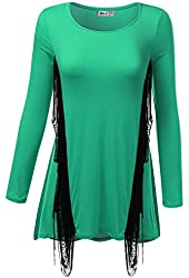 SJSP Women 3/4 Sleeve Colorblocked Detailed Round Neck Tunic Top